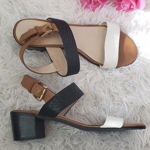 Dune London Leather Heel Sandal